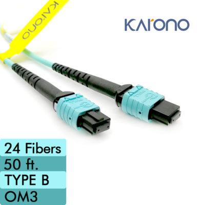 OFNP Ultra Spec 12 Fiber 1 Meter Female to Female Type A MTP 10Gb 50//125 OM3 Multimode Fiber Optic Cable Plenum